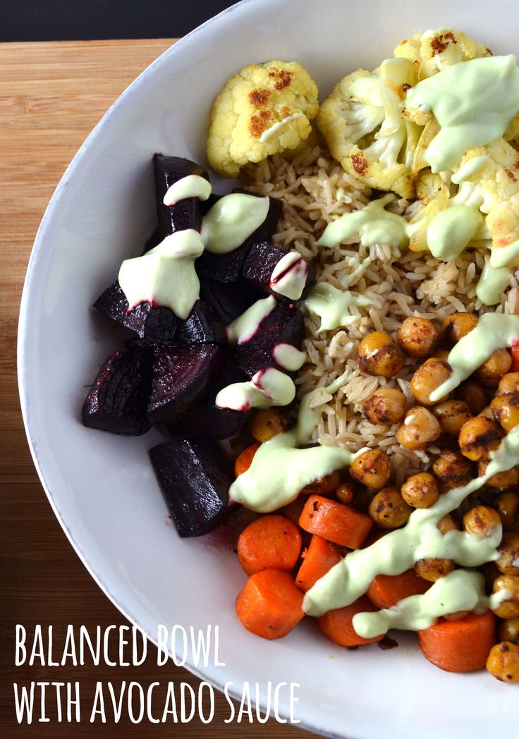 This Balanced Bowl with avocado sauce is so delicious, healthy and filling. We love making bowls because you can mix them up and add whatever vegetable you have on hand, or swap brown rice for quinoa. They also work great as a packed lunch!