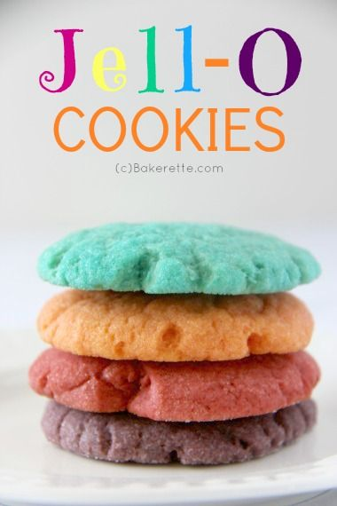 These Jello Cookies are all the rage! So bright and vibrant and incredibly easy to make--use any gelatin flavor of your choice. Bakerette.co...