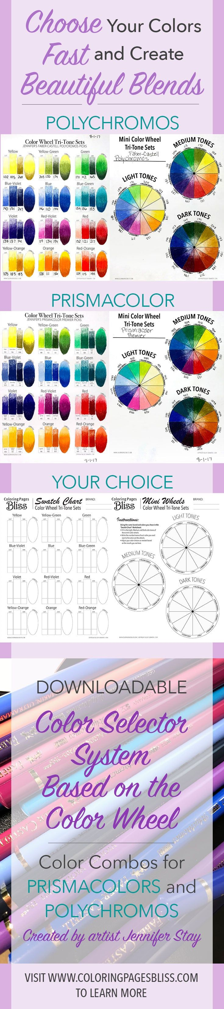 Choose colors fast with beautiful blends. This color wheel system will help you pick colors for your next coloring page. I have also included lots of great tips to help you learn more about color theory. Also get beautifully balanced color trios for Prismacolor Premier and Faber-Castell Polychromos. So much value here to bring your coloring to the next level.
