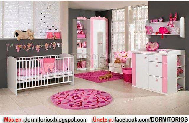 Dormitorios para ni as en tonos rosa con gris dise o - Dormitorio bebe nina ...