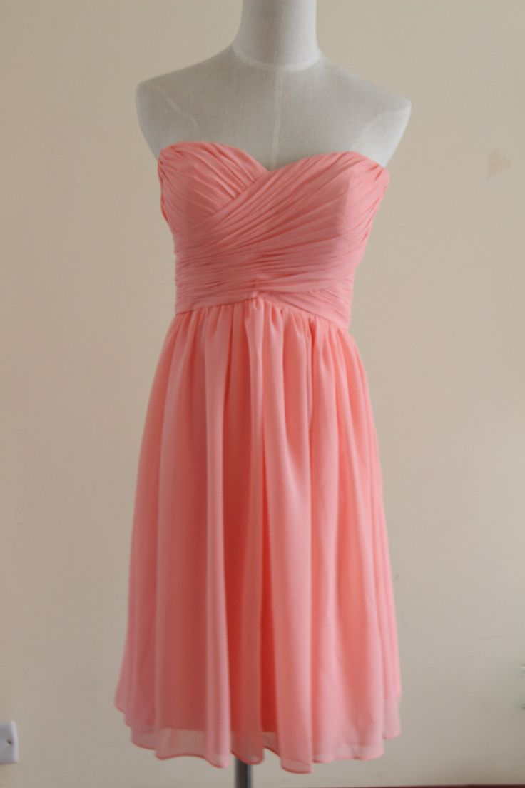 Coral Sweetheart knee-length Bridesmaid Dress Short Coral Strapless Bridesmaid Dress by AlexDress on Etsy https://www.etsy.com/listing/259955268/coral-sweetheart-knee-length-bridesmaid