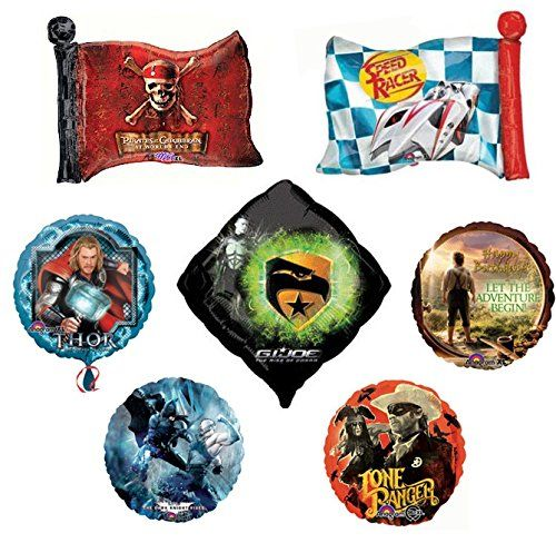 7 Hollywood Blockbuster Movie Mylar Balloons - Movie Night Foil Balloon Bundle @ niftywarehouse.com #NiftyWarehouse #PiratesOfTheCarribbean #Pirates #Movies #Pirate