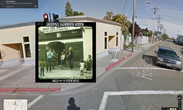 Willy and the Poor Boys by Creedence Clearwater Revival overlaid onto Google Street View image