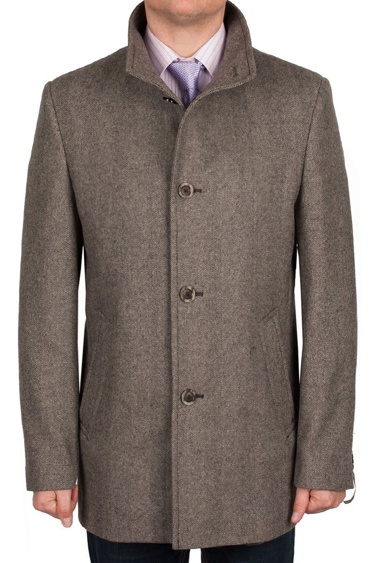 Коричневое мужское пальто  TADDEO GREY-BROWN из шерсти