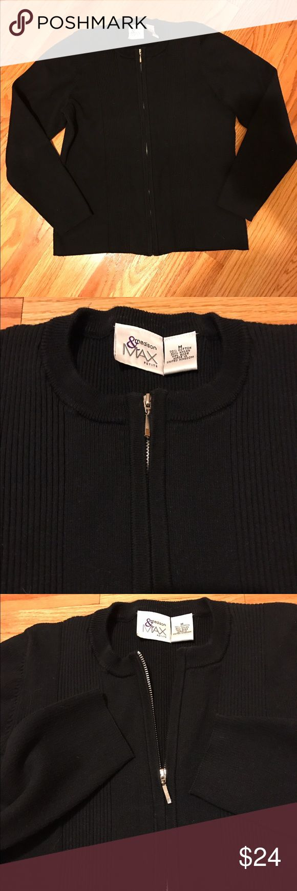 🅾️ Madison & Max Petite Sweater Size Medium Nice zipper sweater. Perfect for work or over a tank. 70% cotton, 30% nylon. Machine wash cold, tumble dry low. madison & MAX Petite Sweaters