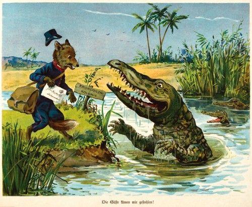 [GERMAN]. FRAUNGRUBER, Hans (author). G.H. THOMPSON (illustrator). #illustration #alligator
