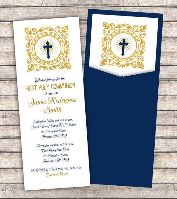 Invitaciones de comunión radiantemente bendecidos - Marina de guerra invitación de bolsillo con un marco muy decorativo alrededor de la Cruz