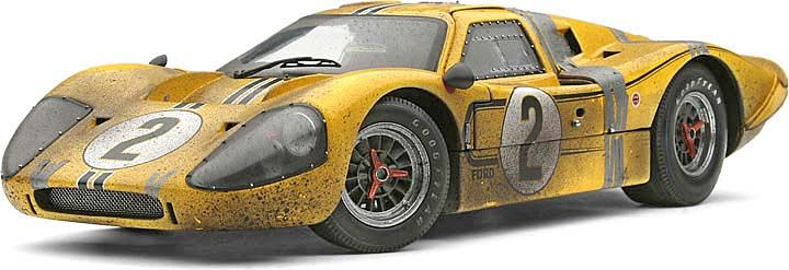 Exoto 1:18 1967 Ford GT40 Mk IV #2- McLaren/Donohue Le Mans- Accident Weathered- LE of 134 diecast car