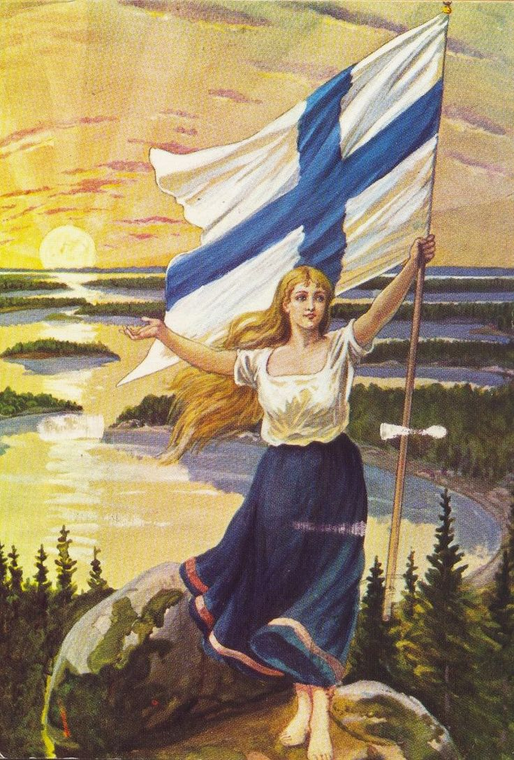 21. In 1917, in the midst of October Revolution in Russia, Finland declares independence. The Finnish maiden by an unknown artist, 1906