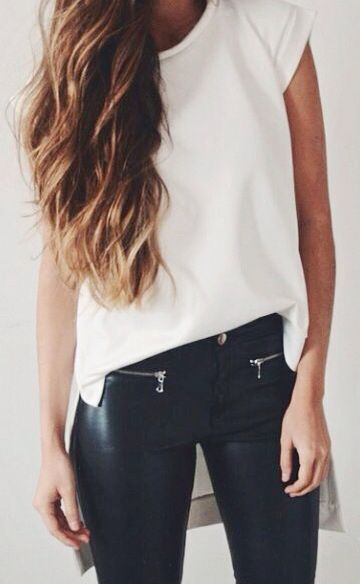 Edgy look | Zipped leather pants and asymmetrical white shirt