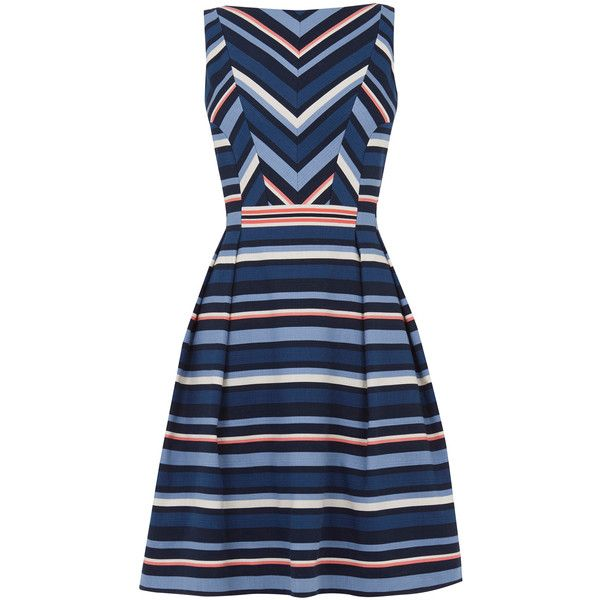 OASIS Chevron Stripe Dress ($83) ❤ liked on Polyvore featuring dresses, multi, long summer dresses, chevron dress, chevron striped dress, chevron pattern dress and summer dresses