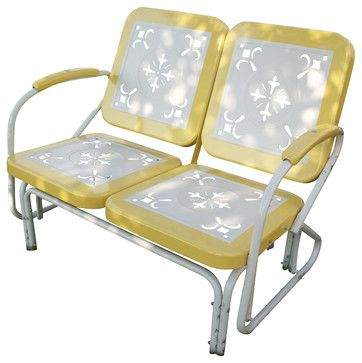 4D Concepts Metal Retro Glider in Yellow & White Metal - eclectic - patio furniture and outdoor furniture - Beyond Stores