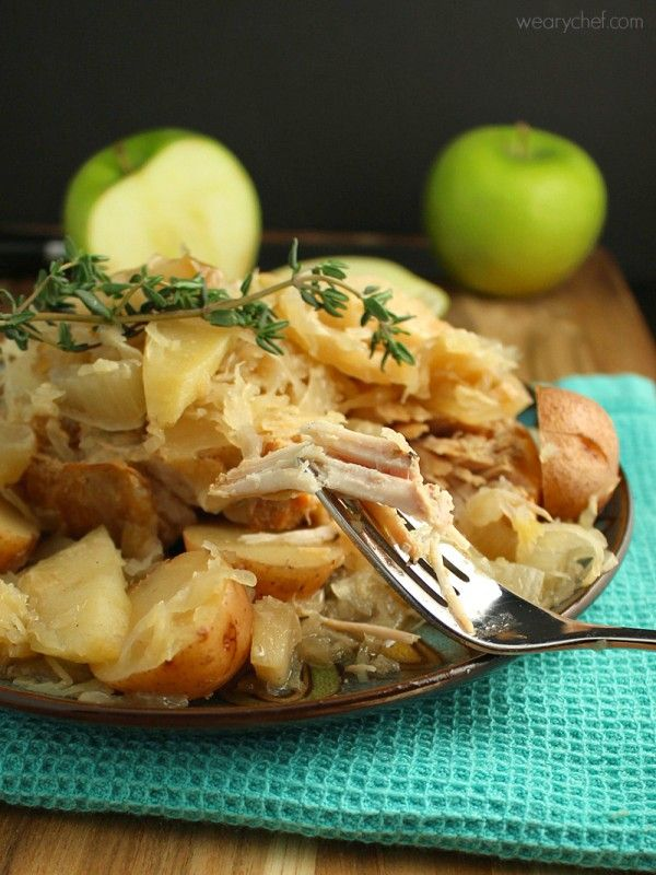 Slow Cooker Pork Chops with Sauerkraut and Apples - David Venables's twist on a traditional Amish New Year's dinner!