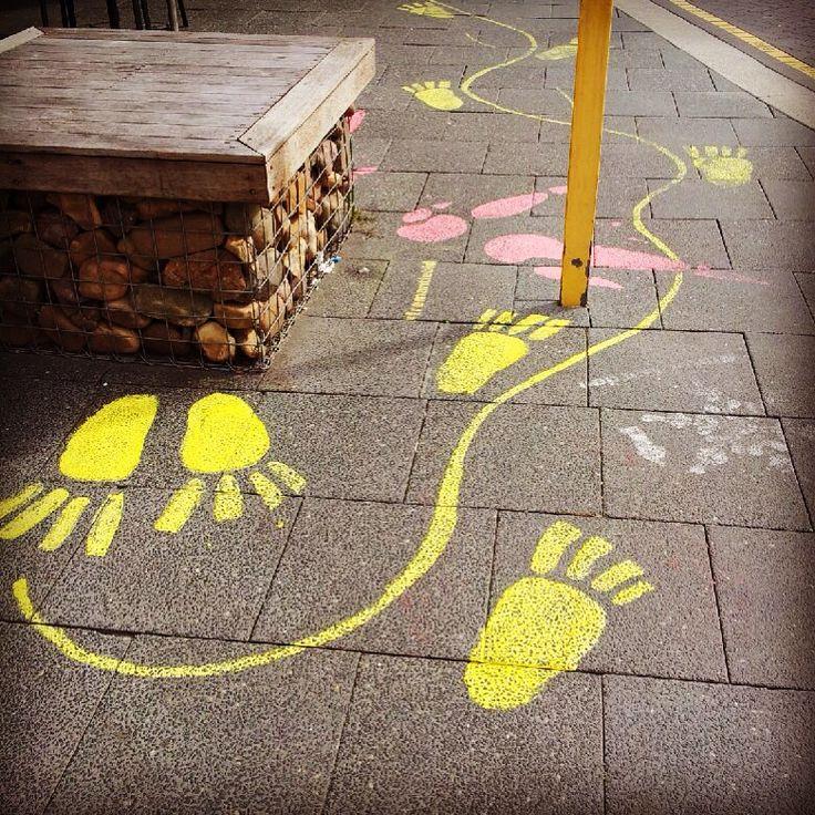 Whose footprints??? Little Market St, Fremantle, August 2015