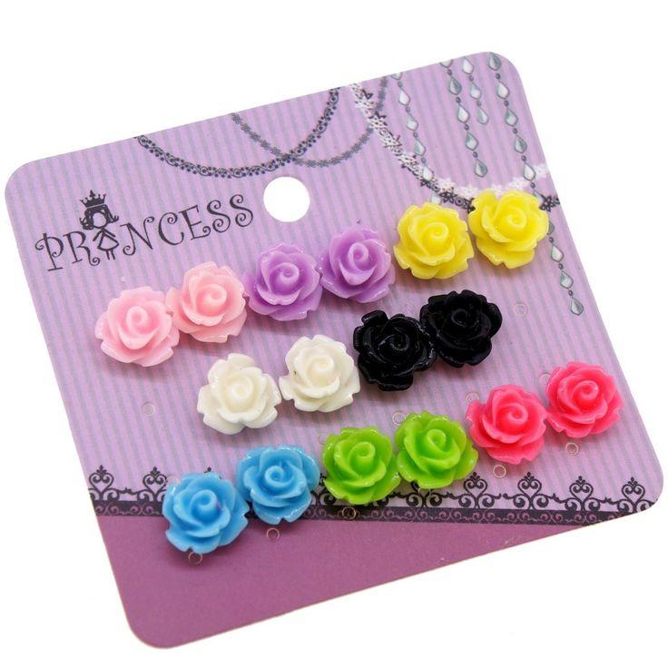 Mixed Color Resin Rose Flower Magnetic Stud Earrings for Teen Girls Kids Womens