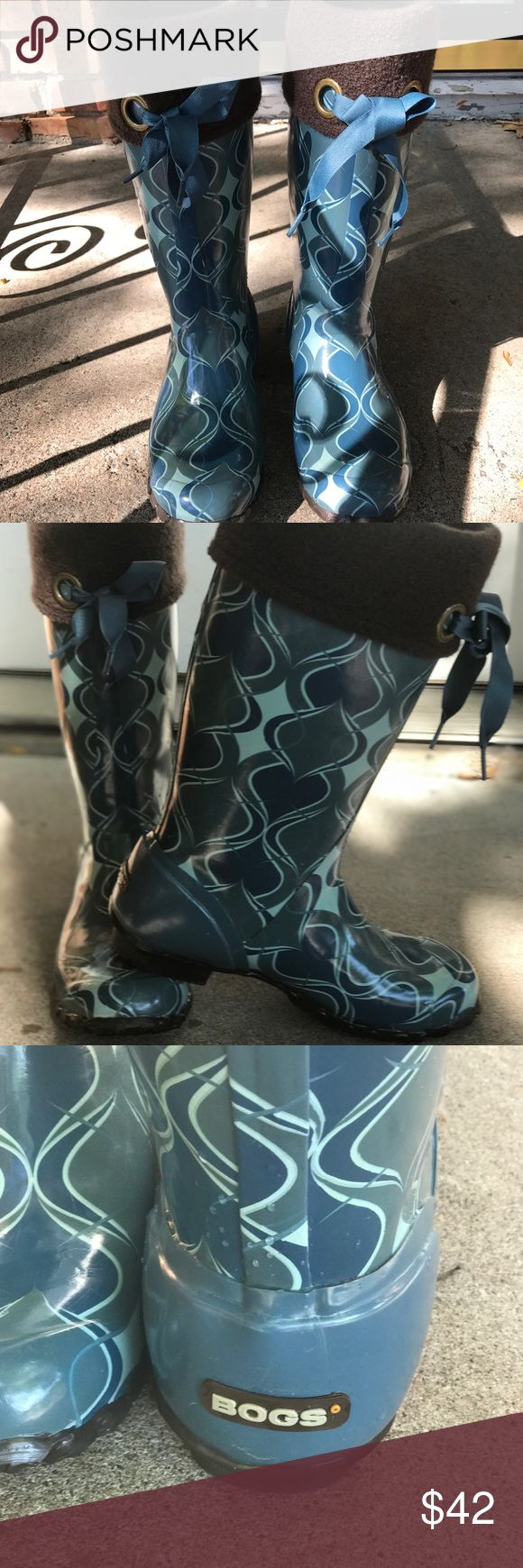 Bogs rain/winter boots Rubber boots in muted blue tones and a harlequin pattern. These are accented and lined with brown boiled wool and are very warm Bogs Shoes Winter & Rain Boots