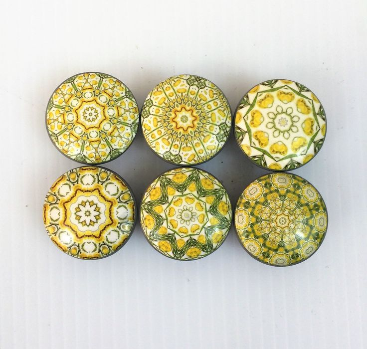 Set of 6 Pastel Mandala Yellow, Green or Coral Cabinet Knobs