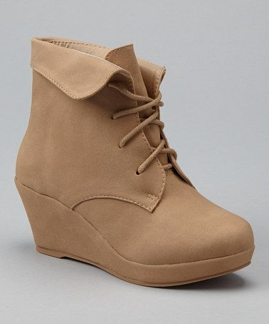 bought to pair for my toddler, they are so cute we can have matching shoes! lol  Another great find on #zulily! Beige Max Wedge Bootie #zulilyfinds