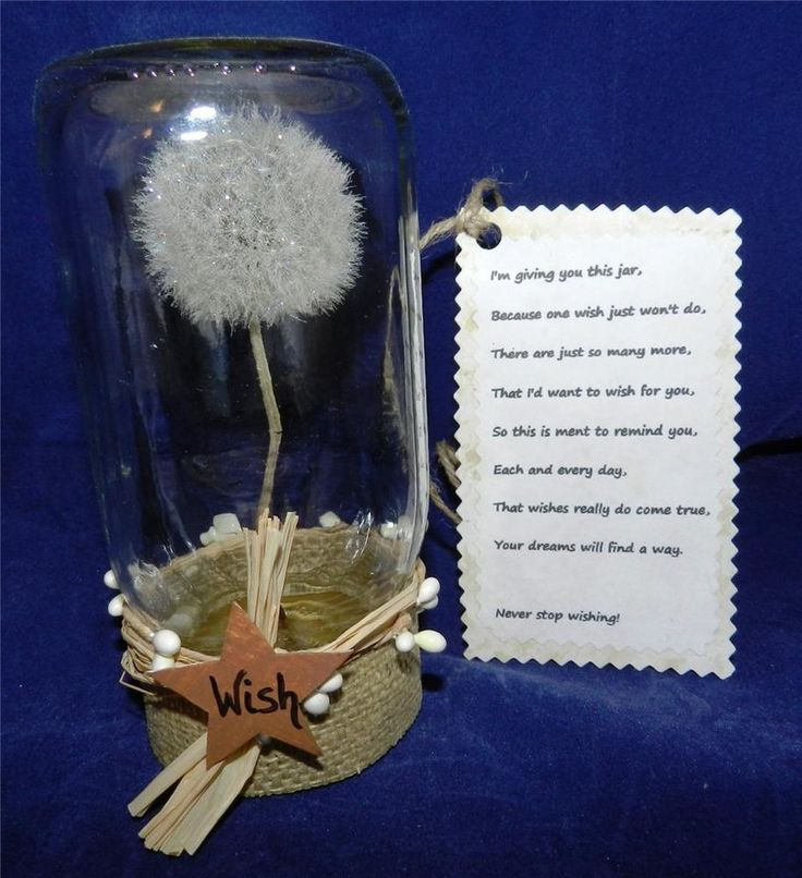 Dandelion wish jar great gift wedding graduation for Dandelion flowers and gifts