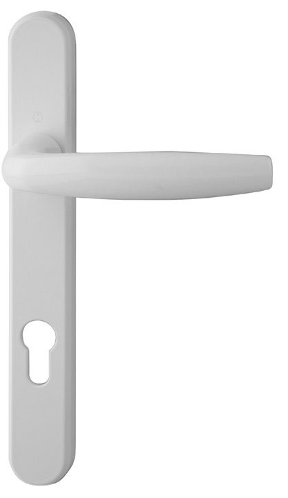 Hoppe Atlanta White Multipoint Handles 92mm Powder coated white finish cast aluminium multipoint handle on backplate. Suitable for use on composite and PVCu doors up to 70mm thick. The distance between the centre of the spindle to the centre of http://www.MightGet.com/january-2017-12/hoppe-atlanta-white-multipoint-handles-92mm.asp