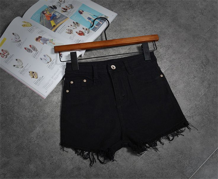 Korean New White Celana Pendek Wanita Casual Fashion Short Jeans Cintura Alta Tassel Denim High Waisted Black Shorts C2328
