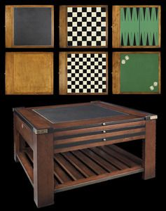 CaptJimsCargo - Wood Multi Game Table Black Chess Checkers Dice Backgammon, (http://www.captjimscargo.com/authentic-models-home-decor/nautical-coffee-game-tables/wood-multi-game-table-black-chess-checkers-dice-backgammon/) There are 3 slide out wooden panels that offer 6 different choices of table tops. Choose between chess, backgammon, checkers, Dice (green felt), leather or cherry wood. You can partially pull out the game panels for more table space for game pieces or drinks.