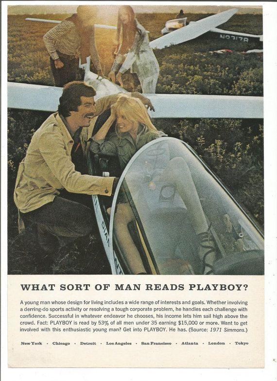 1972 Tom Selleck Playboy Magazin Seite Sammler Magnum PI Strand welche Art von Mann liest 70er Jahre junge Segler Wandtattoo Art