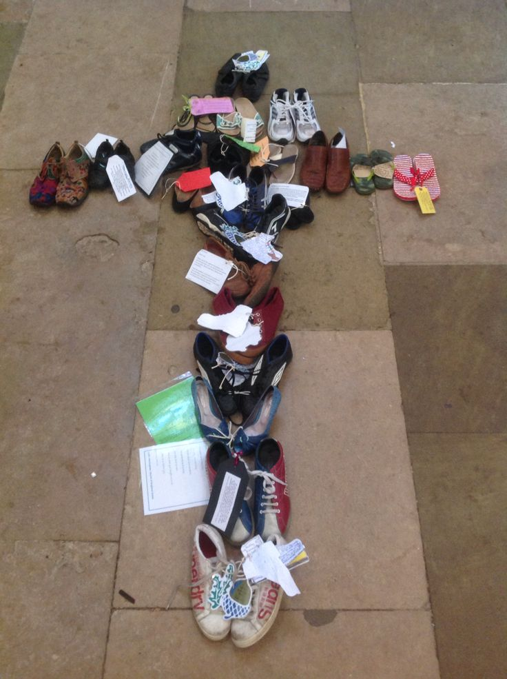 All the shoes from different schools at Norwich Cathedral School days.