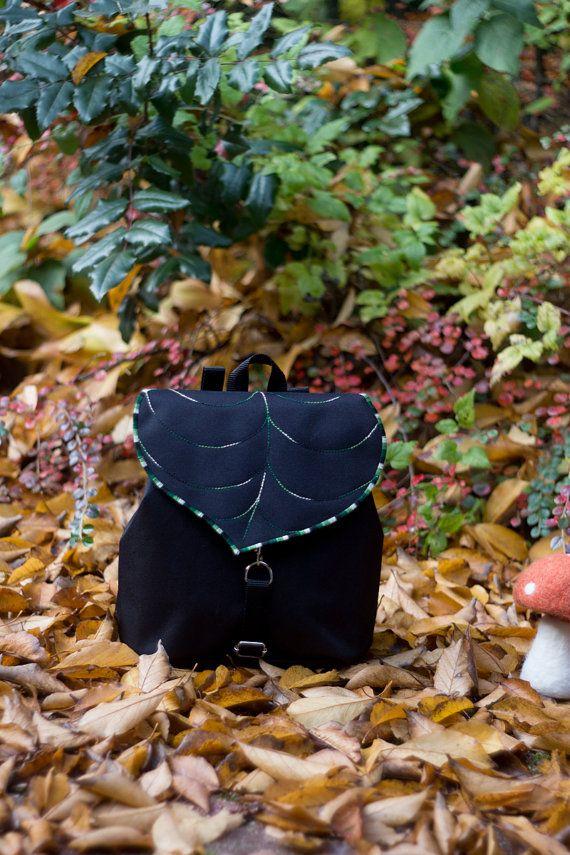 Black Leaf Mini Backpack, Boho Backpack, Women's Rucksack, Festival Backpack, Hipster Backpack, Lightweight, Toddler Backpack, Small Bag