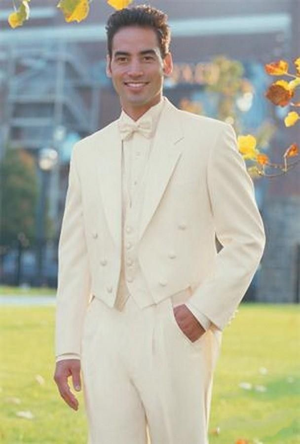 Classic Style Ivory Long Tailcoat Groom Tuxedos Groomsmen Men S