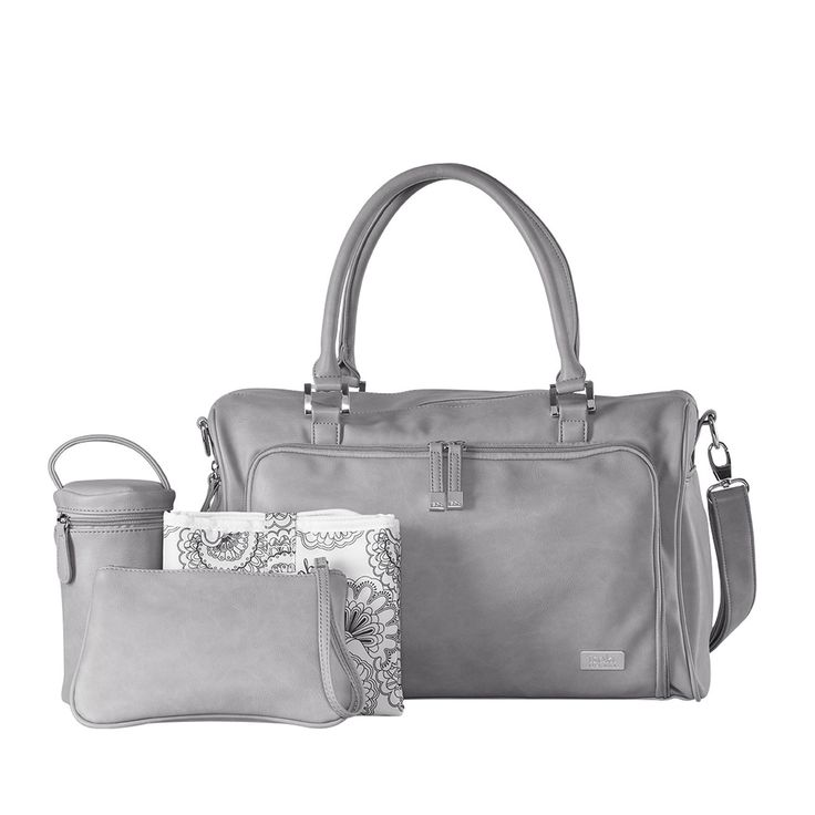 Isoki Double Zip Satchel Nappy Bag - Portsea (Grey). Buy Baby Diaper Bags Online