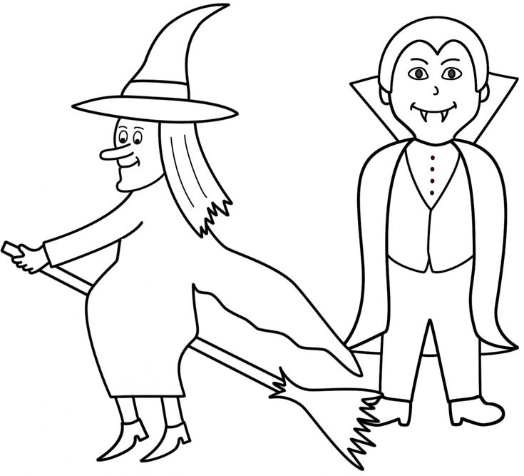 Simple Halloween Coloring Pages Witch Colouring Free For ...