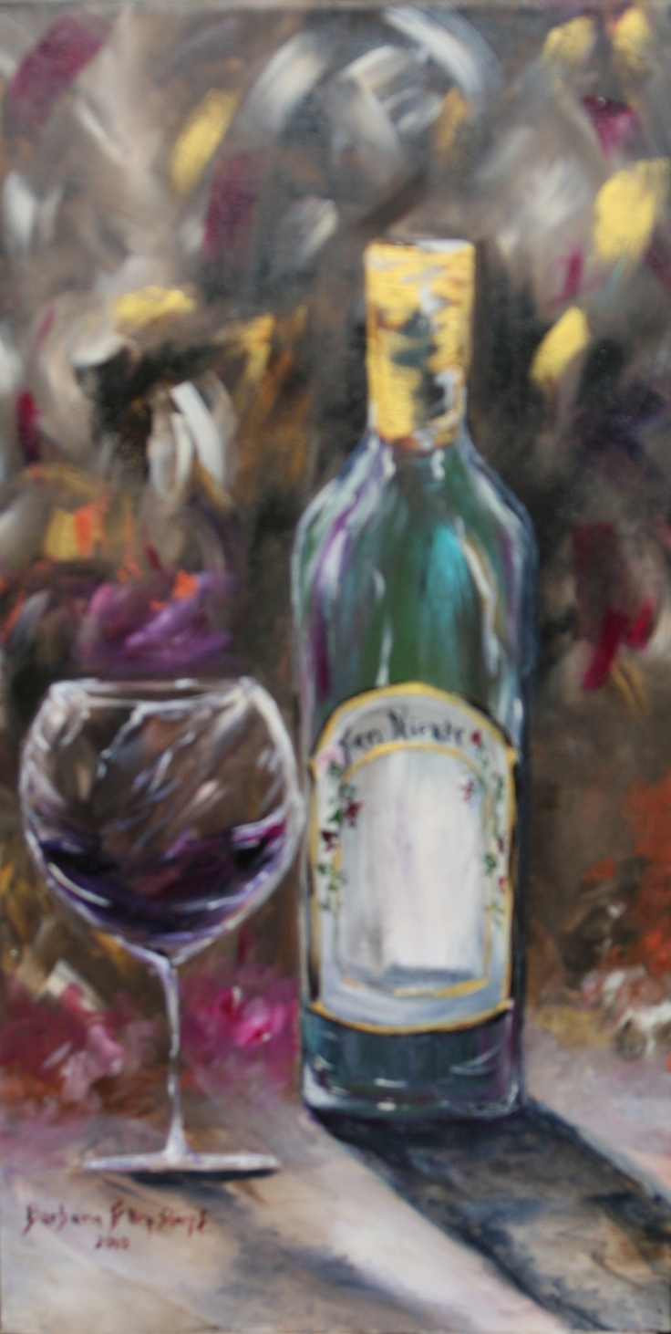 Original acrylic canvas wine bottle 15x30 red wine for Can acrylic paint be used on glass bottles