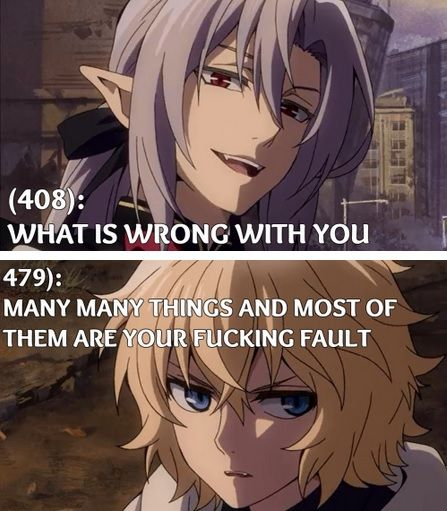 #Owari no seraph #Seraph of the end funny Ferid & Mika    I'm pretty sure this was a real convo they had...