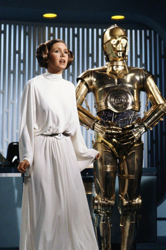 #CarrieFisher and Anthony Daniels in the #StarWars Holiday Special (1978) #70s