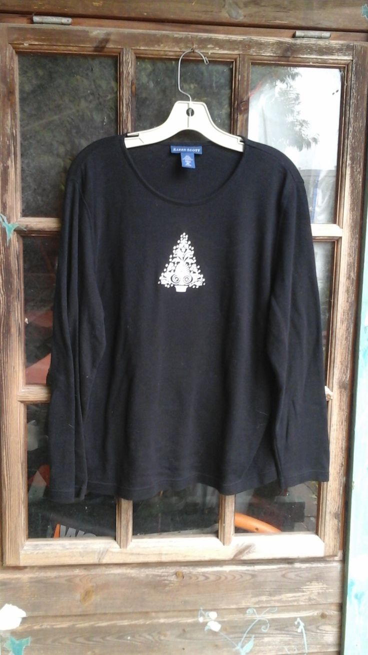 Modern day Christmas tress on a long sleeve black tshirt ugly Christmas tshirt by CaliforniaBlond on Etsy