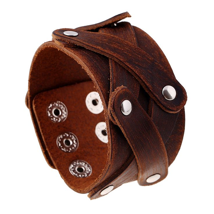 2017 New Genuine Cow Leather Wrap Vintage Brown Bracelet & Bangle Cuff Double Wide Jewelry For Men Women Unisex Gift Alloy Rivet