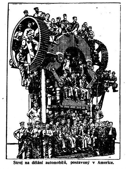 Stroj na dělání automobilů vyrobený v Americe (Rovnost, 26.6.1914)