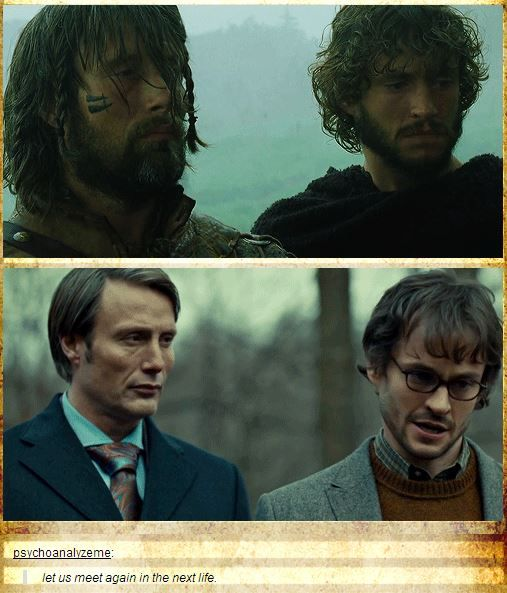 Mads Mikkelsen and Hugh Dancy in King Arthur (2004) and Hannibal (2013). Omg! I watched King Arthur like 20 times and never remembered Hugh Dancy was in it too! (Smacks self)