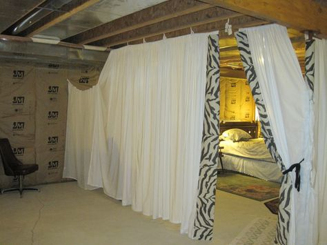 unfinished basement guestroom for my mom basement pinterest basements basement bedrooms. Black Bedroom Furniture Sets. Home Design Ideas
