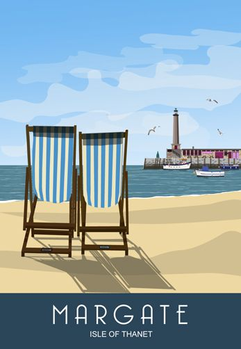 Deck Chairs on Margate Beach. Railway Poster style Illustration by www.whiteonesugar.co.uk Drawn by White One Sugar.