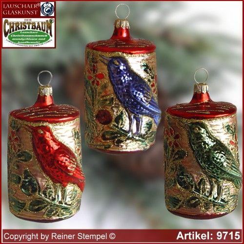 Christbaumschmuck, Vogel im Stamm, Baumschmuck aus Lauscha Glasfigur, Glasform Sammlerstücke Lauschaer Glaskunst ®. - Lauschaer Glasbläser