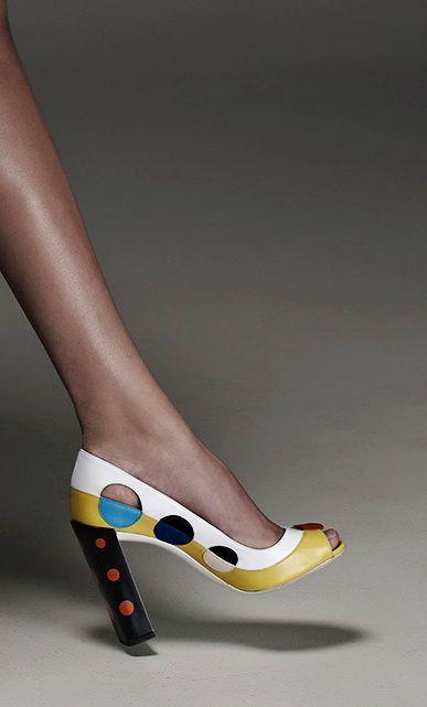 Retro stylish peep-toe, polka dots chunky sky-high heel, color-block shoe at Fendi Resort 2015.