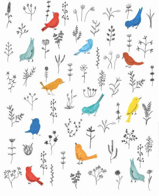 Birds in winter weeds illustration, by Stefani Austin