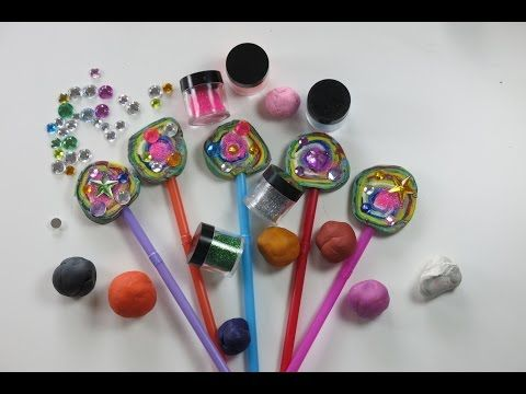 DIY Beautiful Play Doh Rainbow Lollipop with Glitter