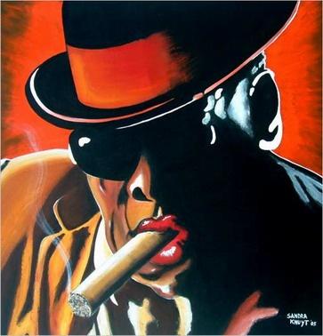 Cuban Woman Smoking Cigar Painting Poster Image