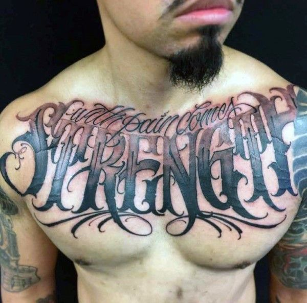 50 Chest Quote Tattoo Designs For Men: Masculine Word Design Ideas