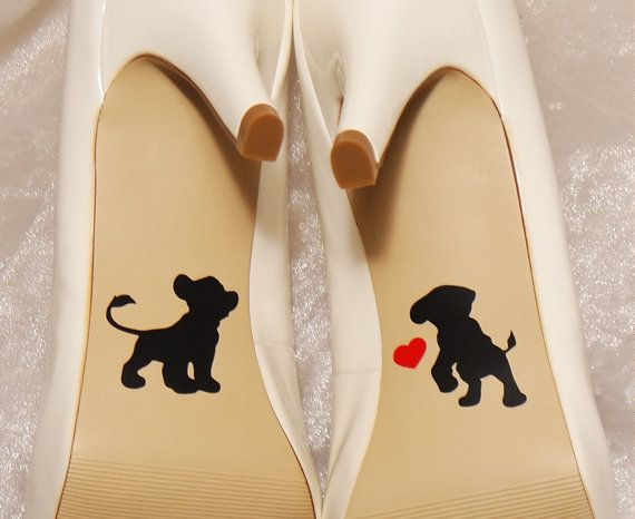 Simba and Nala Lion King Wedding Shoe Decals by CraftyWitchesDecor