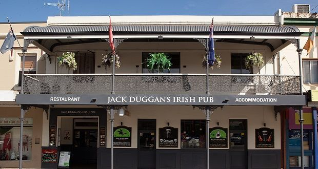 Jack Duggans Irish Pub, great food, nice and noisy, the 12s took this one over!