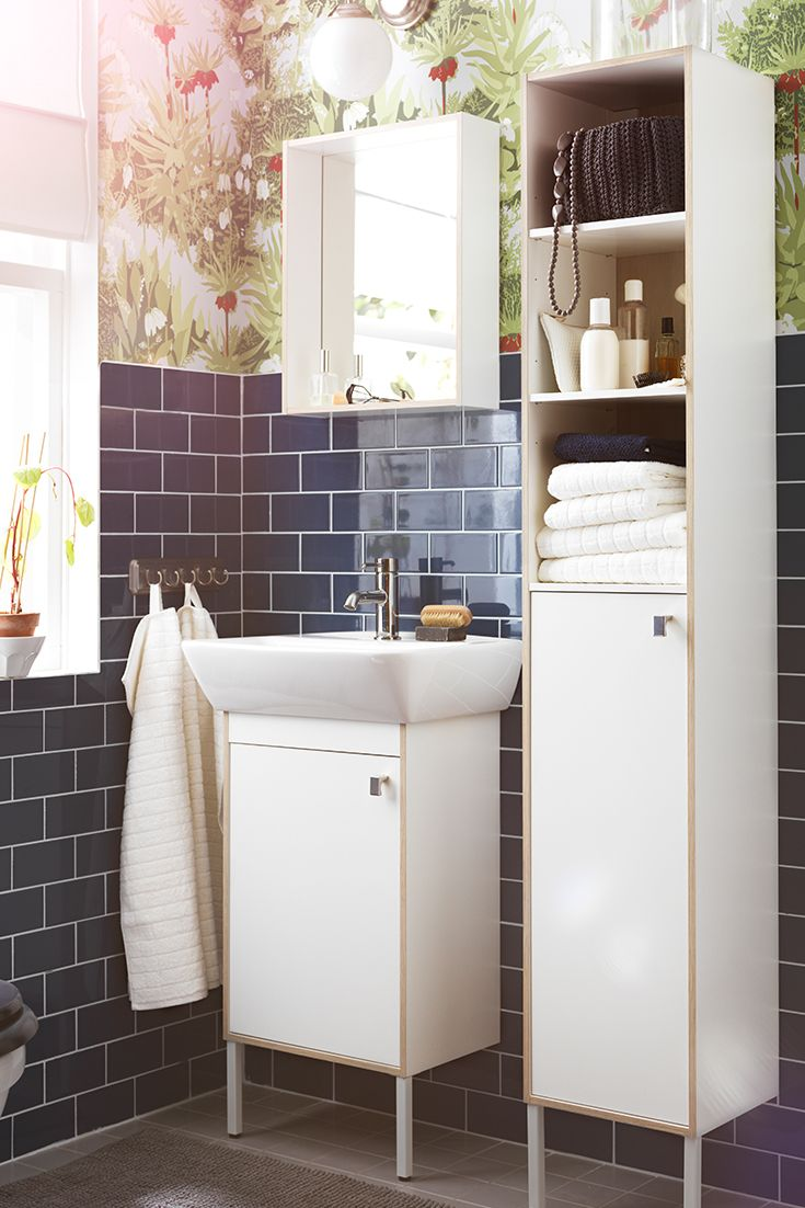 ikea tyngen bathroom furniture pulls double duty to make your life a little more organized the mirror has a storage shelf and the high cabinet combines - Bathroom Design Ideas Ikea